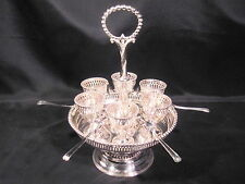 Antique Silver Plated Egg Cruet Server Six Egg Cups and Spoons c1861