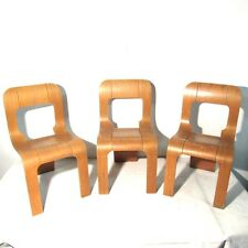 3 SEDIE LEGNO CURVATO STILWOOD STACKING CHAIRS DESIGN GIGI SABADIN VINTAGE ITALY