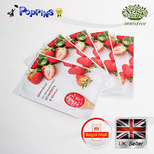5 X New Innisfree Its Real Squeeze Series Sheet Mask Strawberry (20ml x 5)