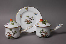 Herend Rothschild Bird 2 Chocolate or Soup Cups & Lids 749 RO & 1 Plate 512 RO