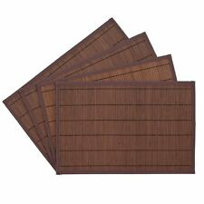 Benson Mills Bali Bamboo Placemats 12-inch x 18-inch, Chocolate, Set of 4, New