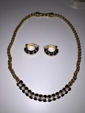 Genuine Signed SWAROVSKI Gold Tone with Crystals Necklace & Earrings Set Pretty