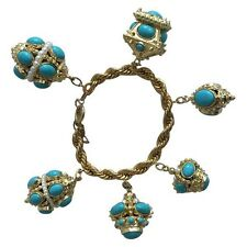 Marc Jacobs Runaway Faux Pearl Turquoise Cabochon Charm Bracelet