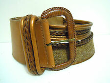 CULT VINTAGE '80 Cintura Donna Pelle Bohemian Woman Leather Belt Sz.S - M