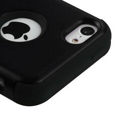 For iPhone 5C - HARD & SOFT RUBBER HYBRID HIGH IMPACT CASE COVER BLACK ARMOR