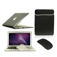 "5 in1 Crystal BLACK Case for Macbook Air 11"" + Key Cover + LCD Screen+ Bag+Mouse"