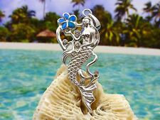 STERLING SILVER MERMAID PENDANT WITH CZS HOLDING BLUE OPAL PLUMERIA FLOWER