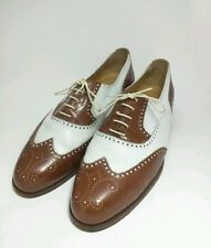 Bespoke COLE HAAN Wingtip Brown White Leather Shoes Hand Made In Italy 10.5 D