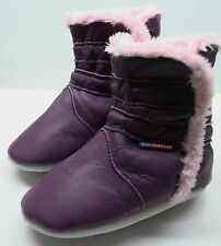 soft sole leather baby girl shoes winter booties purple 6-12m