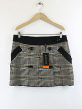 BNWT Karen Millen Womens Brown Tweed Statement Checked  Skirt SM032 Size 12