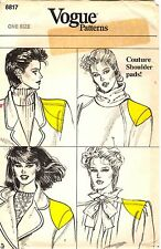 Vogue Sewing Pattern Women's COUTURE SHOULDER PADS 8817 One Size UNCUT
