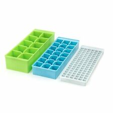 Kikkerland Stackable Small, Medium & Large Ice Cube Tray / Mold 3pc Set