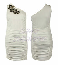 Ladies Womens One Shoulder Sleeveless Sequin Detail Ruched Bodycon Party Dress