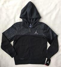 Nike AIR JORDAN Boys Hoodie MEDIUM Full Zip Therma Fit Black Sweatshirt NWT $75