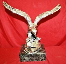 Italian Hand Made 925 Silver Coated Eagle Sculpture On Marble Bases