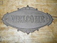 Cast Iron Antique Victorian Style OVAL WELCOME Plaque Sign Rustic Wall Decor #2