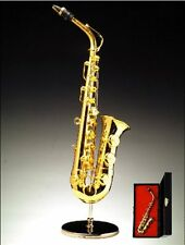 "6"" Gold Brass Saxophone Miniature Music Instruments Fairy Garden Dollhouse"