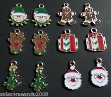12 Enamel Christmas Tree Elf Gift Reindeer Santa Charms Jewelry Making WC12