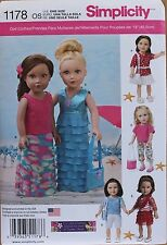 "18"" GIRL DOLL CLOTHES Simplicity Sewing Pattern 1178 American Made NEW Uncut"