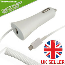 New Vehicle Car Charger For Apple iPhone 5, 5G With USB + 8 Pin Connector White