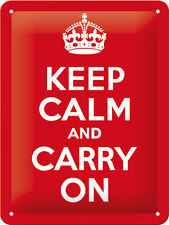 KEEP CALM AND CARRY ON Letrero de metal 20x15 cm en relieve Firmar