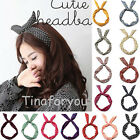 Women Dot Rabbit Bunny Ear Ribbon Metal Wire Headband Scarf Hair Head Band Bow