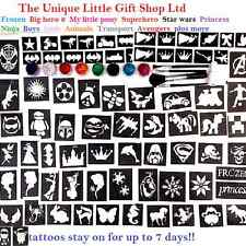 GLITTER TATTOO KIT boys and girls VALUE 124 stencils glitters glue UK made SALE