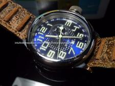 Invicta Mens Swiss Russian Diver SS blue preforated Dial Brown distress leather