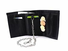 MENS BLACK SUPER SOFT LEATHER SPORTS WALLET DETACHABLE CHAIN