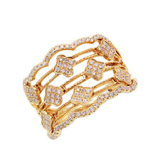 WIDE 14K YELLOW GOLD ROUND PAVE DIAMOND CLOVER FLOWER COCKTAIL RING