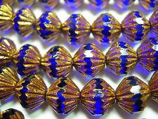 25 9mm Czech Glass Cobalt Blue Bronze Fluted Bicone Beads
