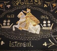 Istanbul Turkey Vintage Tapestry 1964 Chain Embroidery Chainstitch Black 36x45""