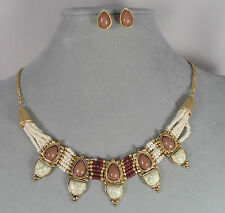 White Brown Seed Bead Necklace Earrings Set Gold Fashion Jewelry NEW