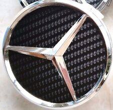 4 Pcs Mercedes Benz, Wheel Hub Cap, Carbon Fiber, Black, Chrome Star Logo, 75 MM