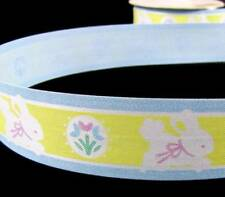 ".33/yd - 3 Yds Easter Sweet Baby Bunny Yellow Blue Acetate Ribbon 1 1/4""W"
