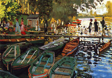 Oil painting Claude Monet - Bathing at la Grenouilliere with canoes in harbor