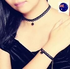 Women Lady retro Black Cotton Lace Pearl Harajuku Short Choker Necklace+bracelet