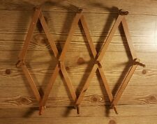 Vintage Wooden Expandable 10 Peg Wall Hanging Cup Cap Rack
