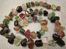 Watermelon Tourmaline Faceted Freeform Beads 51pcs