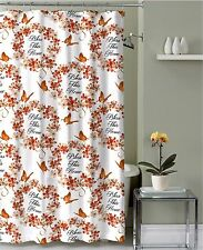 Red Orange Tan Fabric Shower Curtain: Bless This Home Floral Wreath Butterfly