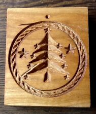 WOOD CARVED SPRINGERLE COOKIE MOLD, BUTTER MOLD - CHRISTMAS TREE - HANDMADE USA