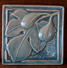 ESTATE FIND Vintage STAMPED HANDMADE ART POTTERY TILE FIG & FIG LEAF LIGHT BLUE