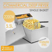 New 2500W Electric Countertop Deep Fryer 5.5 L Single Tank Commercial Restaurant