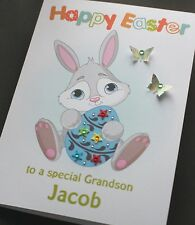 LARGE Handmade Personalised CUTE EASTER BUNNY Card- SON GRANDSON NEPHEW BROTHER
