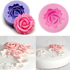 3D Rose Flower Fondant Cake Sugarcraft Mold Cutter Silicone Decorating Tools DIY