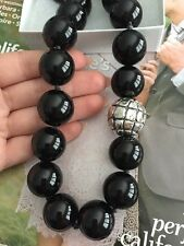 "Simon Sebbag necklace 18"" 925 Silver string asymetric Black Stone beads NEW$250"