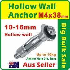 100 x M4 Hollow Wall Anchor Zinc Plated Dia. 8mm Suit 10-16mm Plasterboard 416