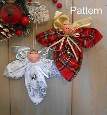 PATTERN Christmas Holiday Angel Ornament #92 Primitive Raggedy Craft Doll Easy