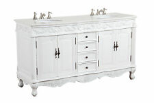 "64"" Antique White Beckham Bathroom Sink vanity Cabinet Crystal CF-3882W-AW-64"