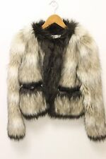 LANVIN x H&M WOMENS FAUX FUR CROPPED COAT JACKET SIZE 4